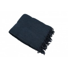 Плед шерсть мериноса серо-синий 100% шерсть
